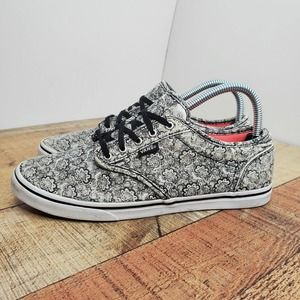 Vans Off The Wall Womens White Black Paisley Low Top Sneakers Shoes Size 8.5